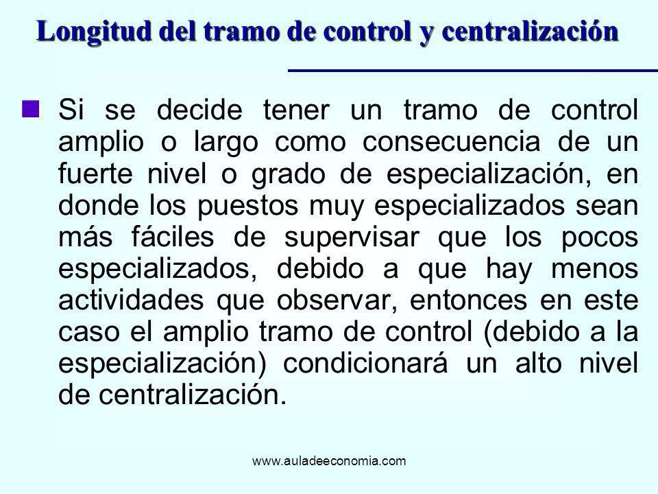 www.auladeeconomia.com nSi se decide tener un tramo de control amplio o largo como consecuencia de un fuerte nivel o grado de especialización, en dond