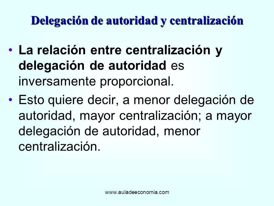 www.auladeeconomia.com La relación entre centralización y delegación de autoridad es inversamente proporcional. Esto quiere decir, a menor delegación