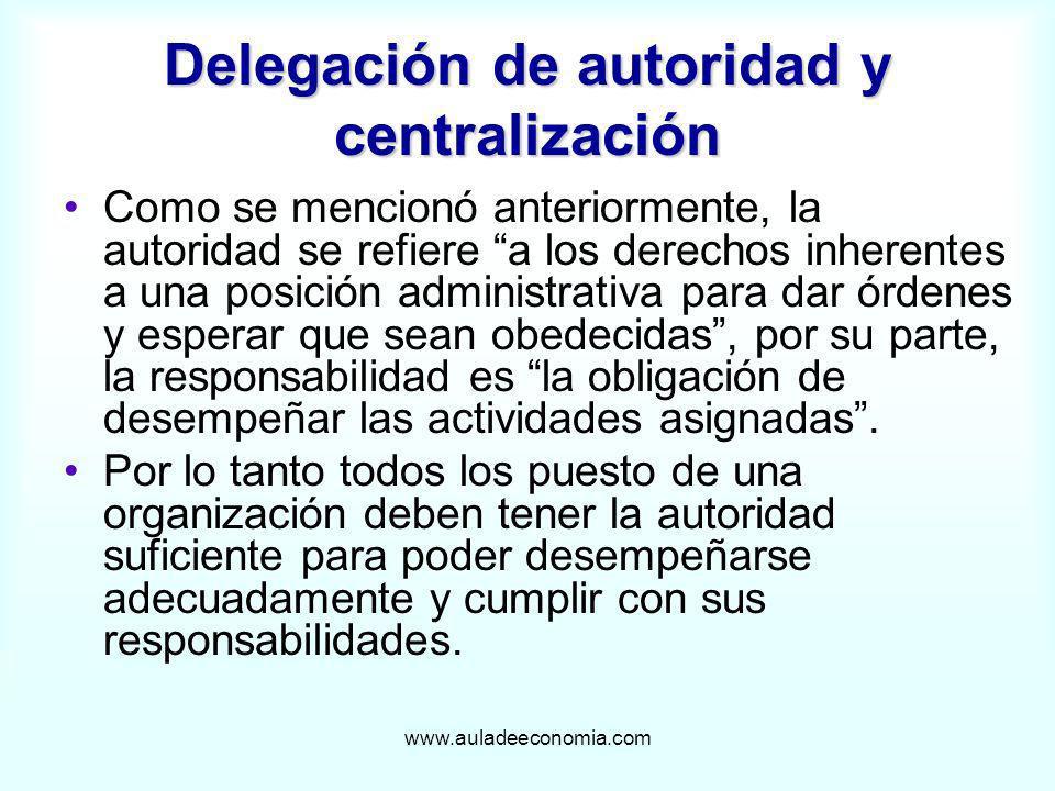 www.auladeeconomia.com Delegación de autoridad y centralización Como se mencionó anteriormente, la autoridad se refiere a los derechos inherentes a un