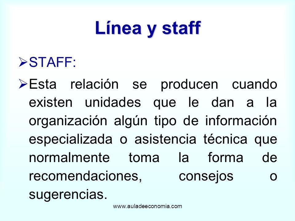 www.auladeeconomia.com Línea y staff STAFF: Esta relación se producen cuando existen unidades que le dan a la organización algún tipo de información e