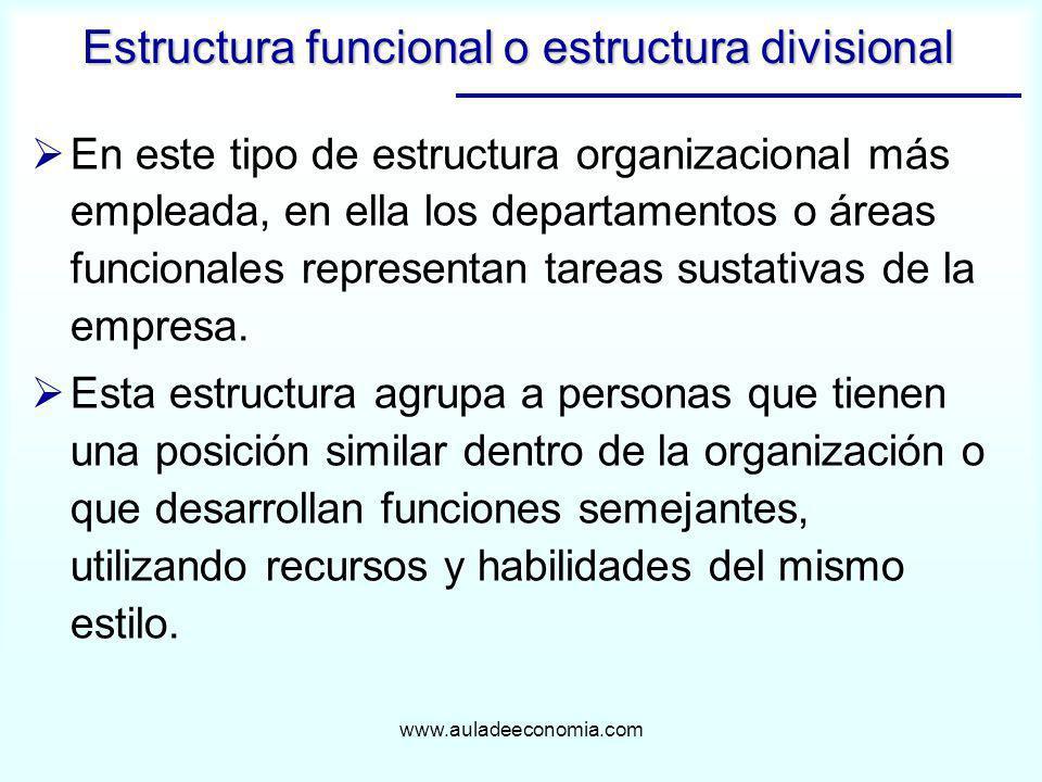www.auladeeconomia.com En este tipo de estructura organizacional más empleada, en ella los departamentos o áreas funcionales representan tareas sustat
