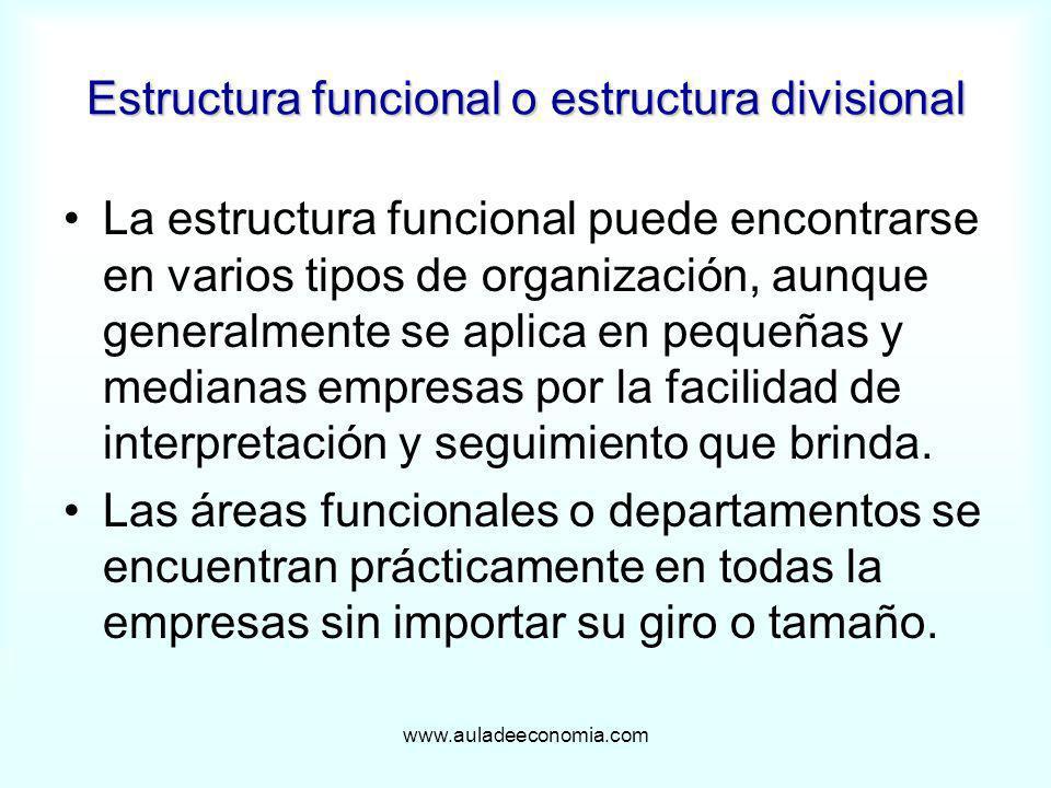 www.auladeeconomia.com Estructura funcional o estructura divisional La estructura funcional puede encontrarse en varios tipos de organización, aunque