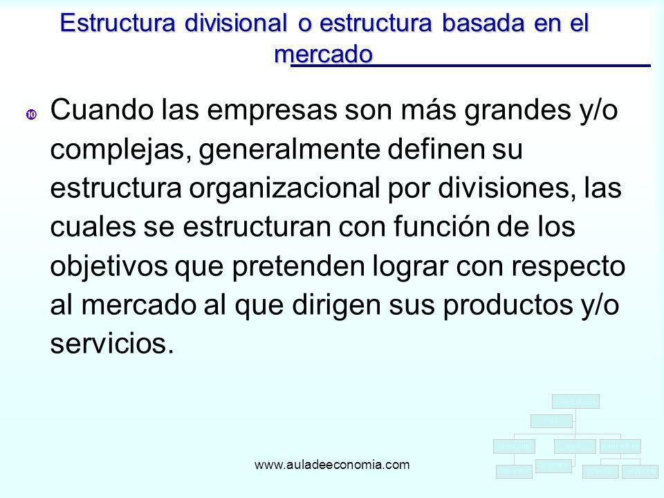 www.auladeeconomia.com Cuando las empresas son más grandes y/o complejas, generalmente definen su estructura organizacional por divisiones, las cuales