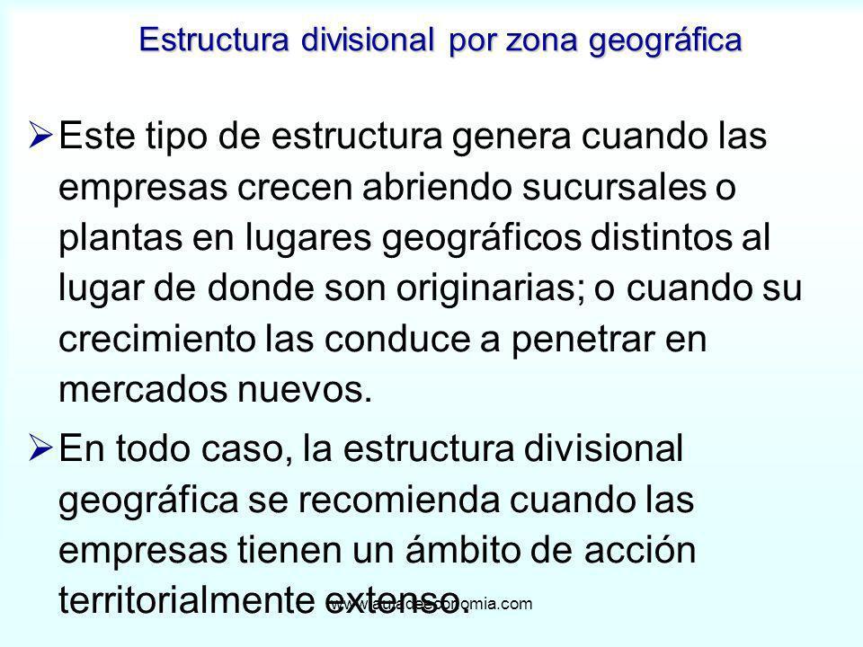 www.auladeeconomia.com Estructura divisional por zona geográfica Este tipo de estructura genera cuando las empresas crecen abriendo sucursales o plant