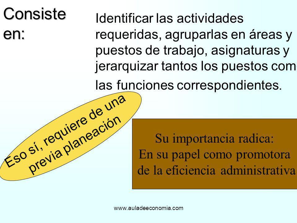 www.auladeeconomia.com Consiste en: Identificar las actividades requeridas, agruparlas en áreas y puestos de trabajo, asignaturas y jerarquizar tantos