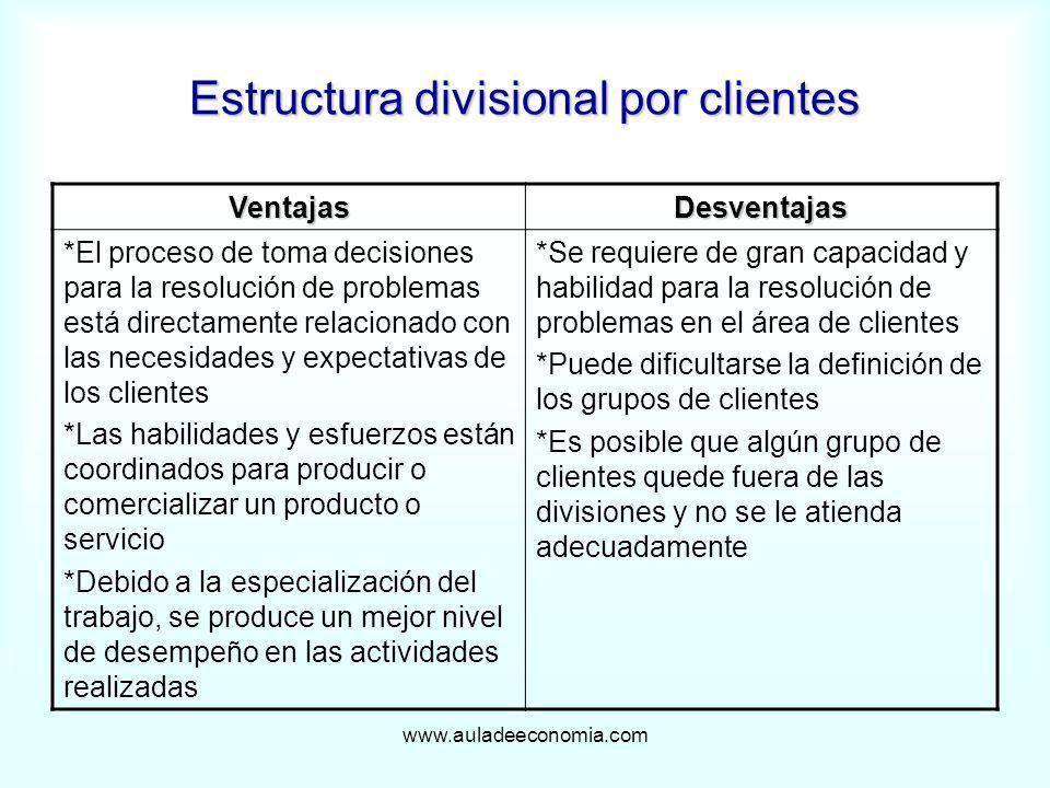 www.auladeeconomia.com Estructura divisional por clientes VentajasDesventajas *El proceso de toma decisiones para la resolución de problemas está dire
