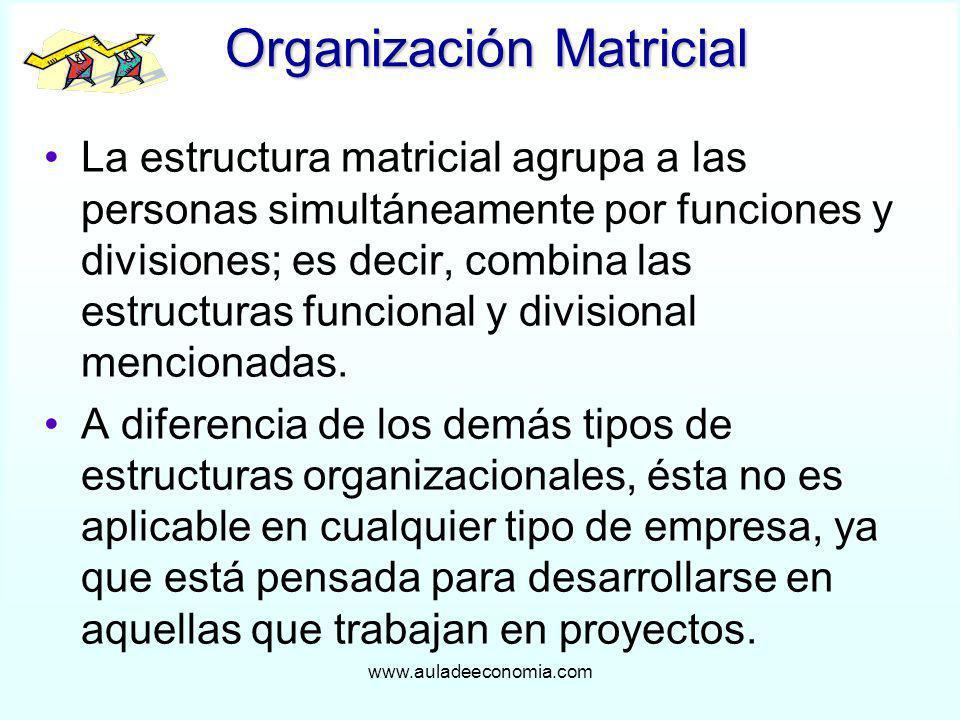 www.auladeeconomia.com Organización Matricial La estructura matricial agrupa a las personas simultáneamente por funciones y divisiones; es decir, comb