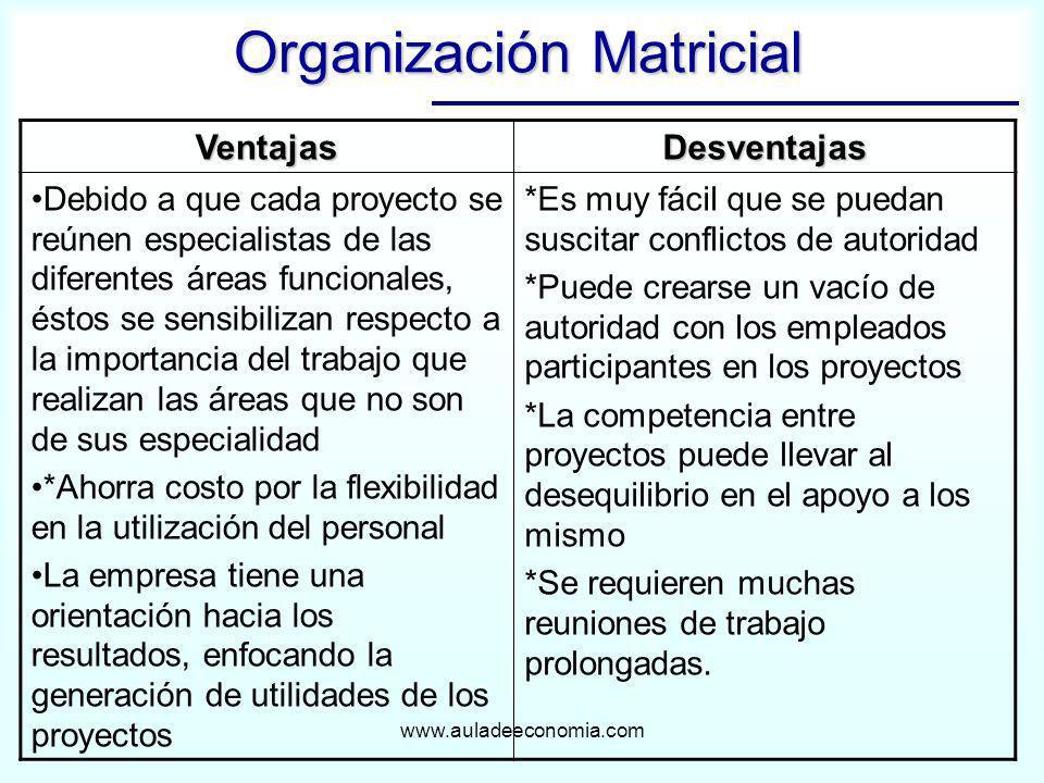 www.auladeeconomia.com Organización Matricial VentajasDesventajas Debido a que cada proyecto se reúnen especialistas de las diferentes áreas funcional