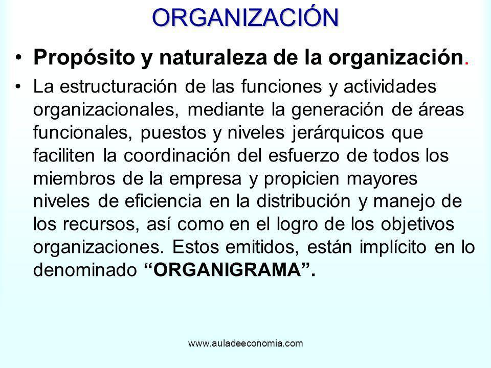 www.auladeeconomia.comORGANIZACIÓN Propósito y naturaleza de la organización. La estructuración de las funciones y actividades organizacionales, media