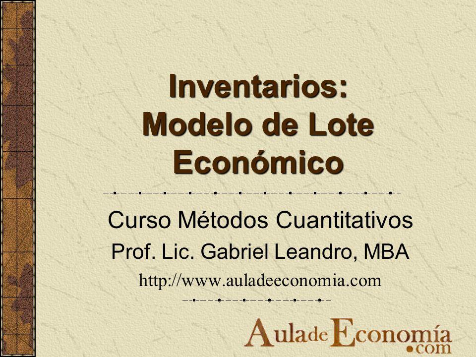 Inventarios: Modelo de Lote Económico Curso Métodos Cuantitativos Prof. Lic. Gabriel Leandro, MBA http://www.auladeeconomia.com