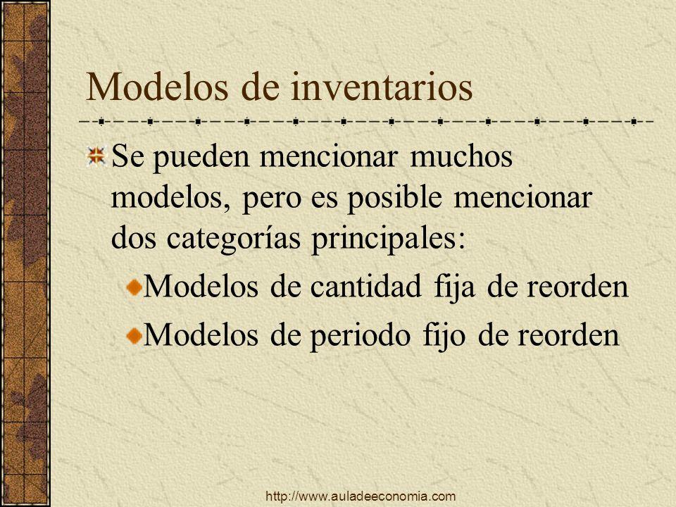 http://www.auladeeconomia.com Modelos de inventarios Se pueden mencionar muchos modelos, pero es posible mencionar dos categorías principales: Modelos