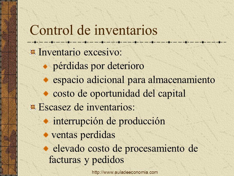 http://www.auladeeconomia.com Control de inventarios Inventario excesivo: pérdidas por deterioro espacio adicional para almacenamiento costo de oportu
