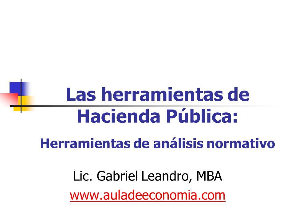 Las herramientas de Hacienda Pública: Herramientas de análisis normativo Lic. Gabriel Leandro, MBA www.auladeeconomia.com