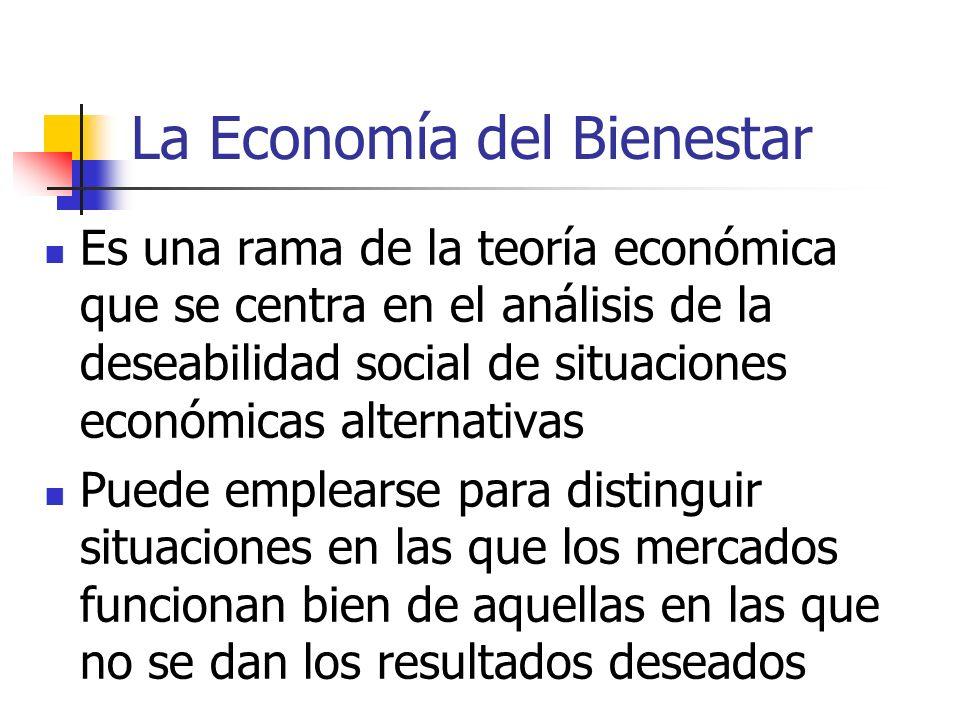 La Economía del Bienestar Es una rama de la teoría económica que se centra en el análisis de la deseabilidad social de situaciones económicas alternat