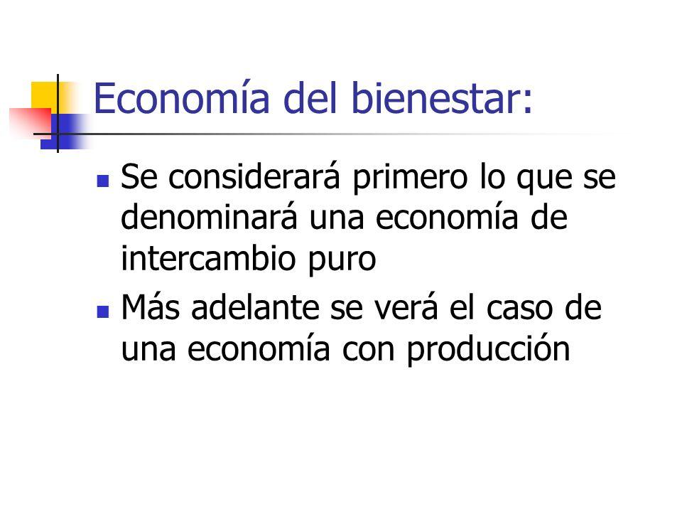 Economía del bienestar: Se considerará primero lo que se denominará una economía de intercambio puro Más adelante se verá el caso de una economía con