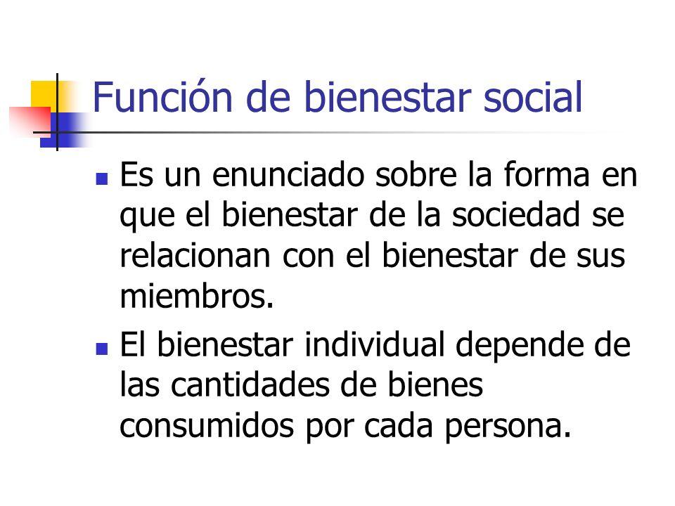 Función de bienestar social Es un enunciado sobre la forma en que el bienestar de la sociedad se relacionan con el bienestar de sus miembros. El biene