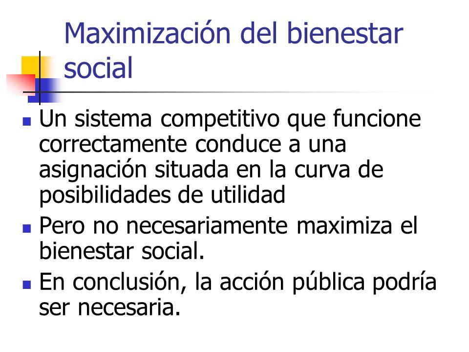 Maximización del bienestar social Un sistema competitivo que funcione correctamente conduce a una asignación situada en la curva de posibilidades de u