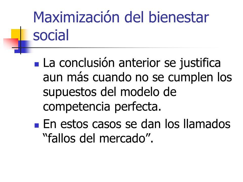 Maximización del bienestar social La conclusión anterior se justifica aun más cuando no se cumplen los supuestos del modelo de competencia perfecta. E