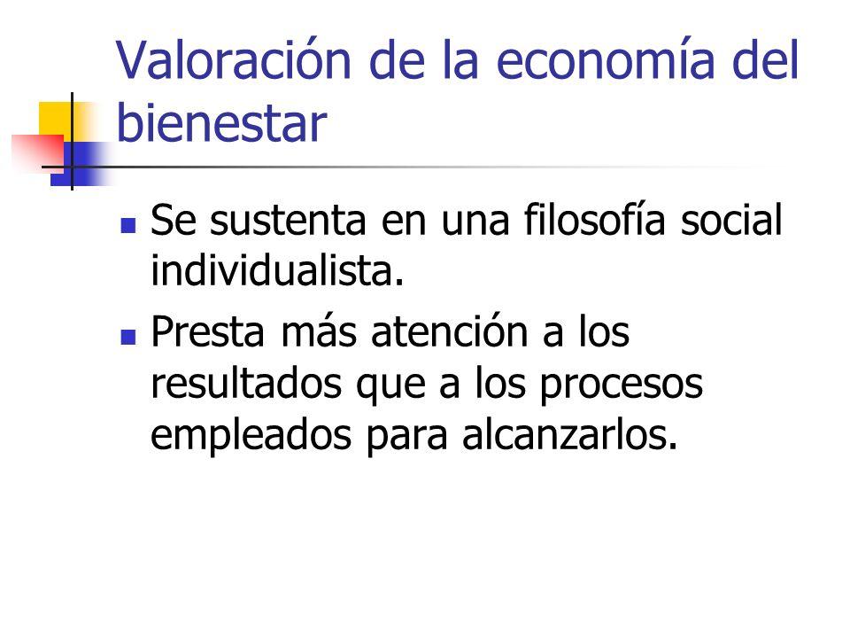 Valoración de la economía del bienestar Se sustenta en una filosofía social individualista. Presta más atención a los resultados que a los procesos em