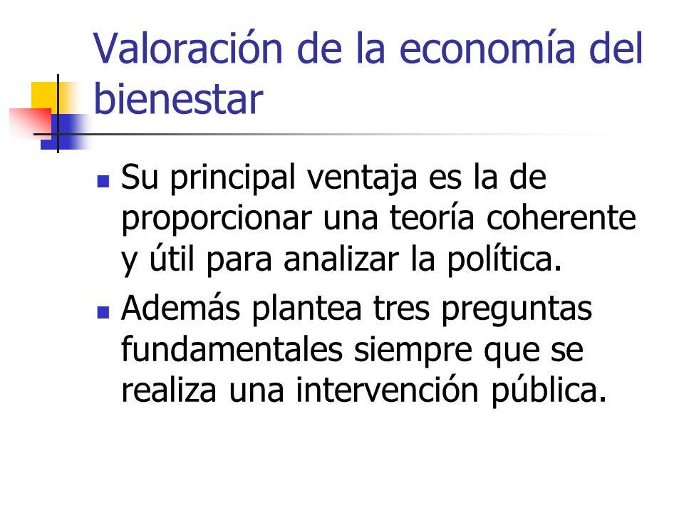 Valoración de la economía del bienestar Su principal ventaja es la de proporcionar una teoría coherente y útil para analizar la política. Además plant