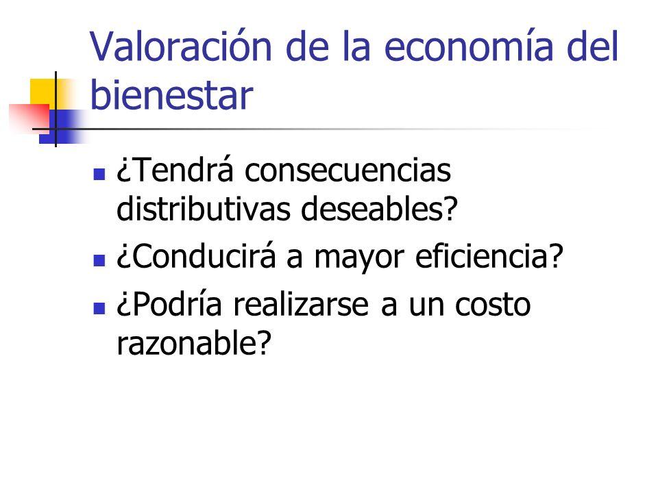 Valoración de la economía del bienestar ¿Tendrá consecuencias distributivas deseables? ¿Conducirá a mayor eficiencia? ¿Podría realizarse a un costo ra
