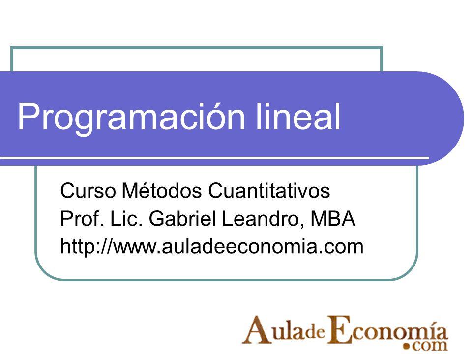 Programación lineal Curso Métodos Cuantitativos Prof. Lic. Gabriel Leandro, MBA http://www.auladeeconomia.com
