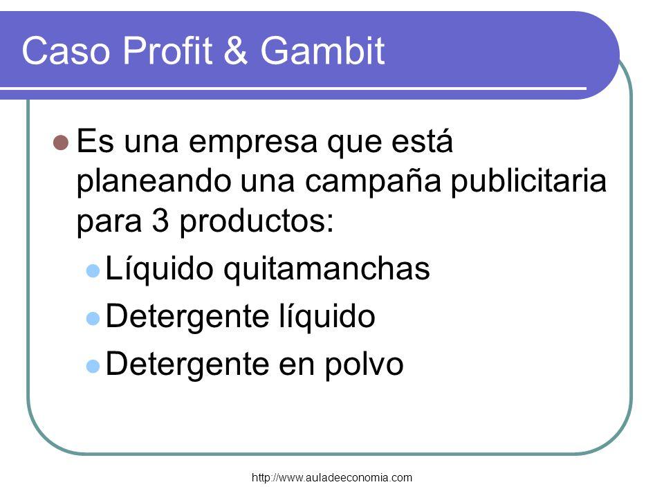 http://www.auladeeconomia.com Caso Profit & Gambit Es una empresa que está planeando una campaña publicitaria para 3 productos: Líquido quitamanchas D
