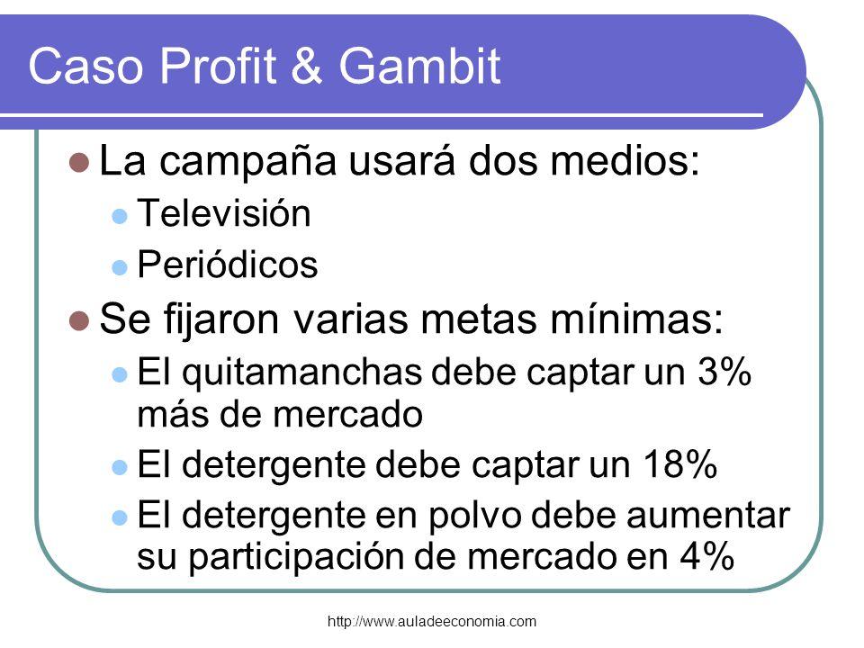http://www.auladeeconomia.com Caso Profit & Gambit La campaña usará dos medios: Televisión Periódicos Se fijaron varias metas mínimas: El quitamanchas