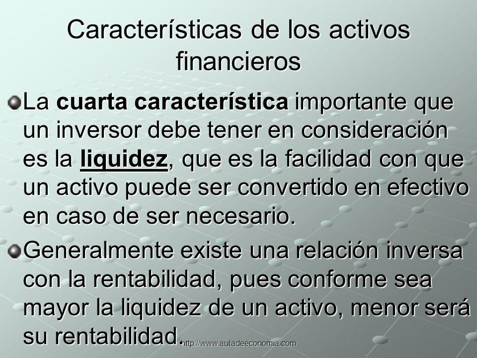 http://www.auladeeconomia.com Características de los activos financieros La liquidez y el valor de un activo se ven afectados por el tiempo, siendo el valor temporal la quinta característica más importante que debe estudiarse.