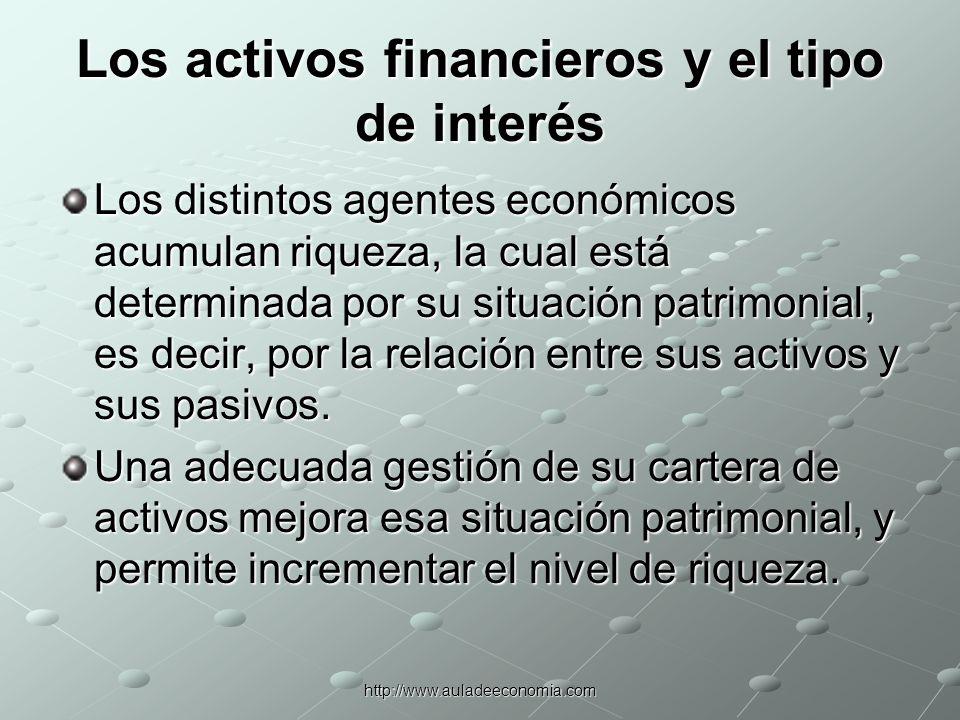 http://www.auladeeconomia.com Los activos financieros y el tipo de interés En un modelo simple se supone la existencia de sólo dos activos: el dinero y los bonos.