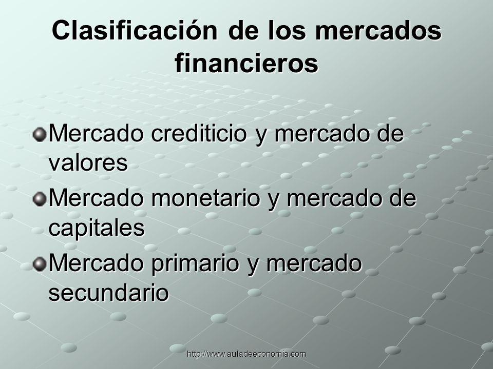 http://www.auladeeconomia.com PARTICIPANTES EN LOS MERCADOS FINANCIEROS InversionistasEmpresas Intermediarios financieros Gobierno