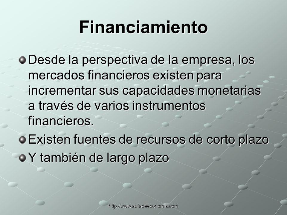http://www.auladeeconomia.com Financiamiento La estructura de capital depende de los beneficios relativos de financiarse vía deuda o fondos de capital.