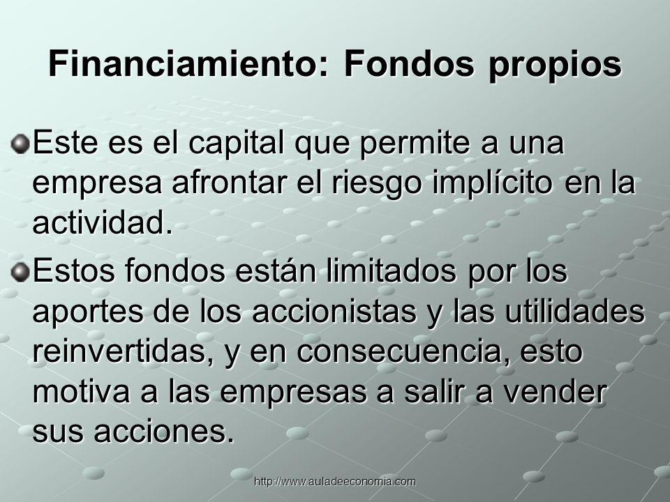 http://www.auladeeconomia.com Financiamiento: Deuda Una alternativa al capital aportado por accionistas como fuente de financiamiento es el endeudamiento.