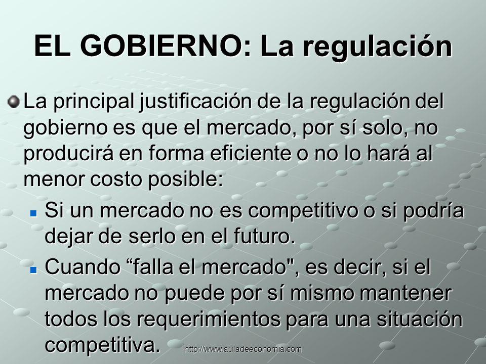 http://www.auladeeconomia.com EL GOBIERNO Funciones de la Regulación 1.Prevenir que los emisores de valores defrauden a los inversionistas encubriendo información relevante.