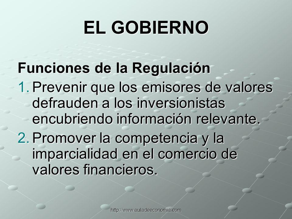 http://www.auladeeconomia.com EL GOBIERNO Funciones de la Regulación 3.Promover la estabilidad de las instituciones financieras.