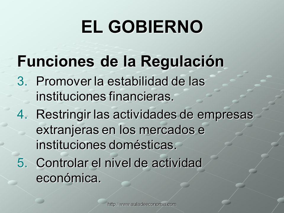 http://www.auladeeconomia.com Cuatro formas generales de reglamentación 1.Cumplimiento de la declaración de información relevante.