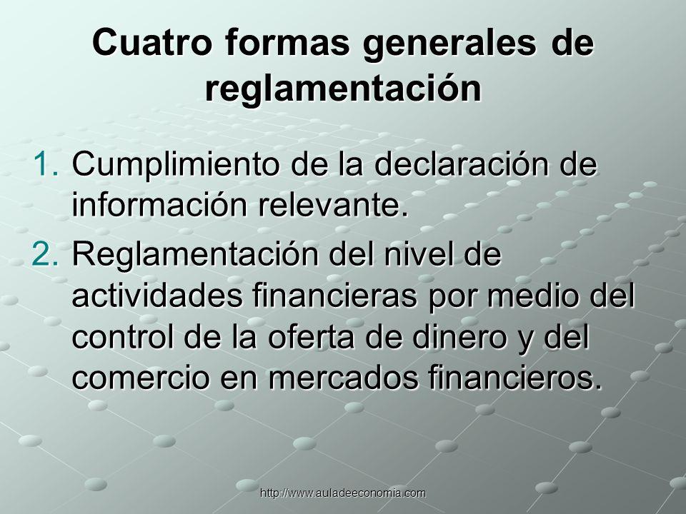 http://www.auladeeconomia.com Cuatro formas generales de reglamentación 3.La restricción a las actividades de las instituciones financieras y de su manejo de activos y pasivos.