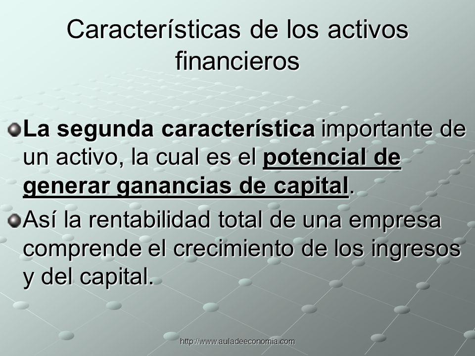 http://www.auladeeconomia.com Características de los activos financieros El riesgo es la posibilidad de sufrir pérdidas en un activo.