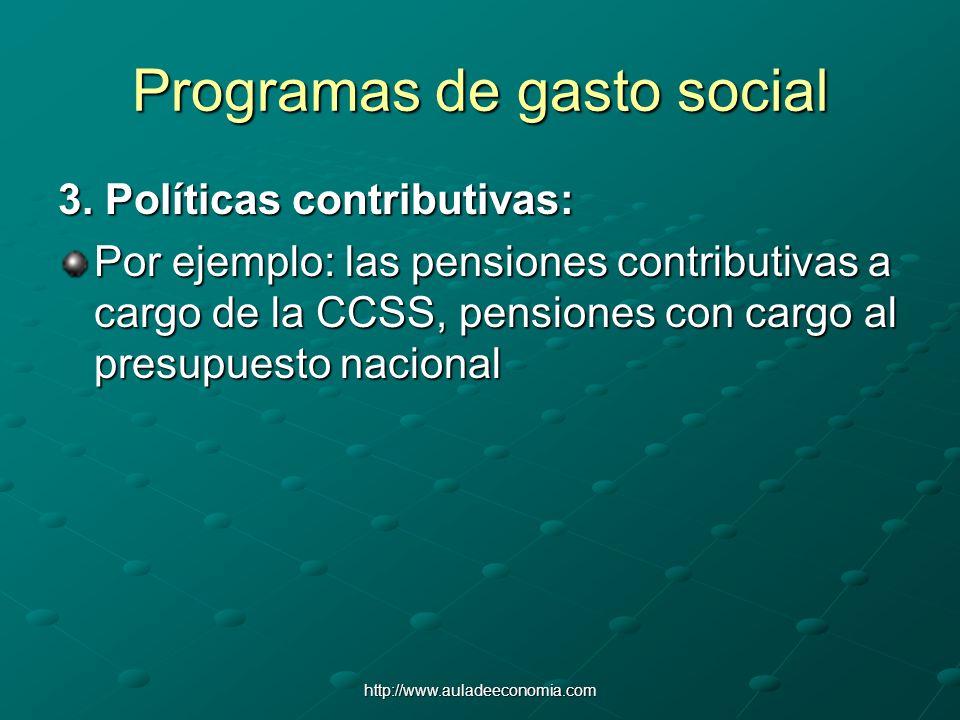 http://www.auladeeconomia.com Programas de gasto social 3. Políticas contributivas: Por ejemplo: las pensiones contributivas a cargo de la CCSS, pensi