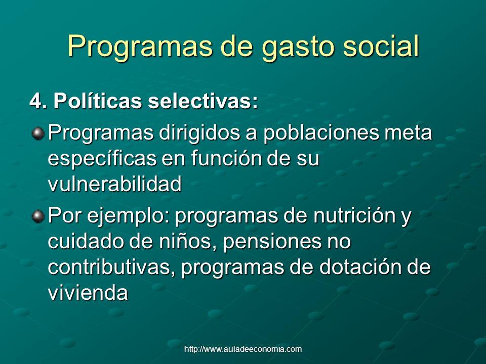 http://www.auladeeconomia.com Programas de gasto social 4. Políticas selectivas: Programas dirigidos a poblaciones meta específicas en función de su v