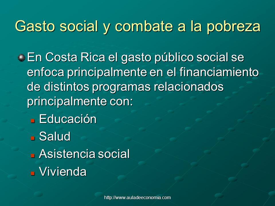 http://www.auladeeconomia.com Gasto social y combate a la pobreza En Costa Rica el gasto público social se enfoca principalmente en el financiamiento