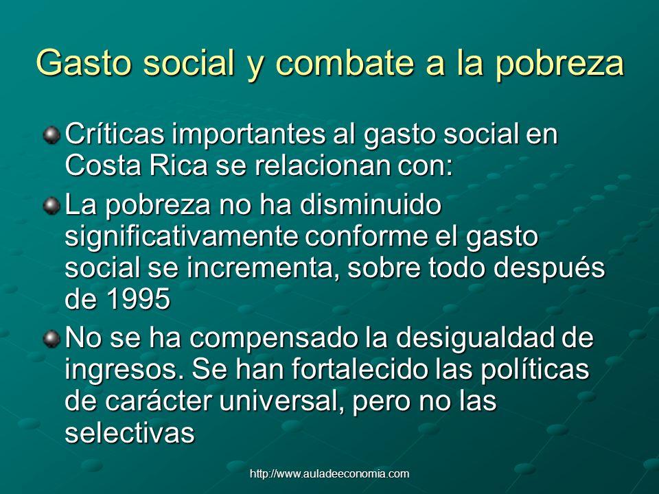 http://www.auladeeconomia.com Gasto social y combate a la pobreza Críticas importantes al gasto social en Costa Rica se relacionan con: La pobreza no