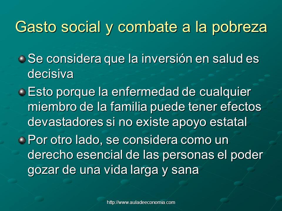 http://www.auladeeconomia.com Gasto social y combate a la pobreza Se considera que la inversión en salud es decisiva Esto porque la enfermedad de cual
