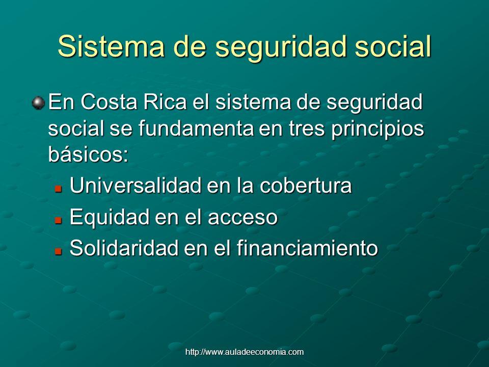 http://www.auladeeconomia.com Sistema de seguridad social En Costa Rica el sistema de seguridad social se fundamenta en tres principios básicos: Unive