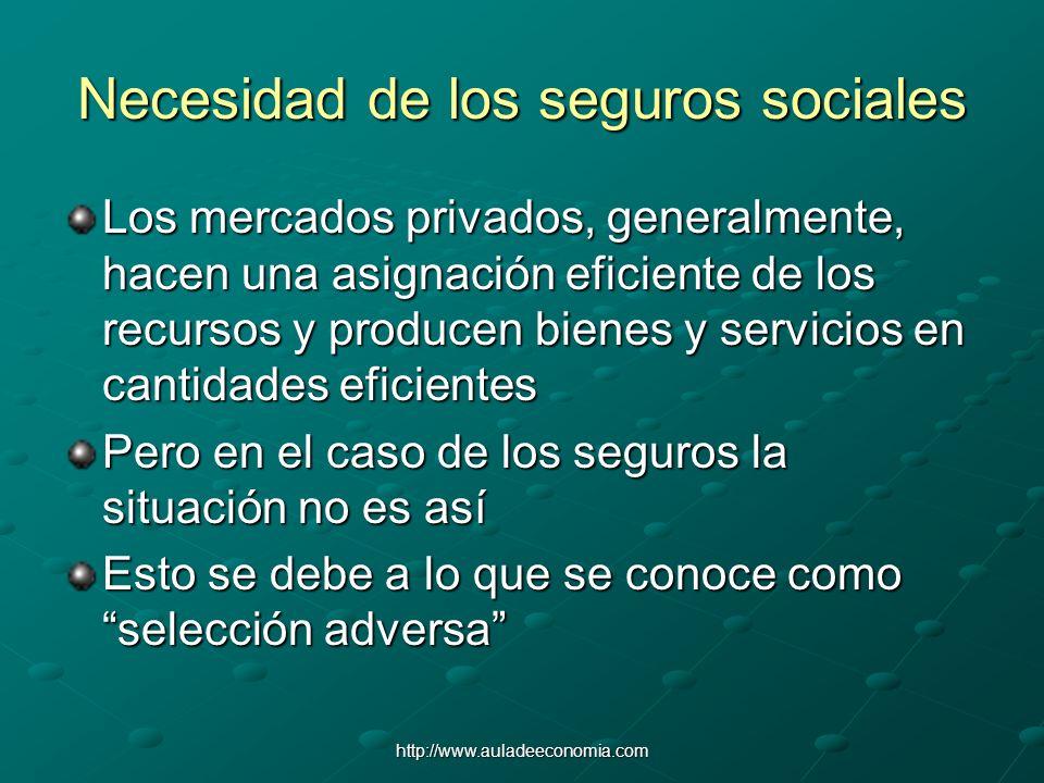 http://www.auladeeconomia.com Necesidad de los seguros sociales Los mercados privados, generalmente, hacen una asignación eficiente de los recursos y