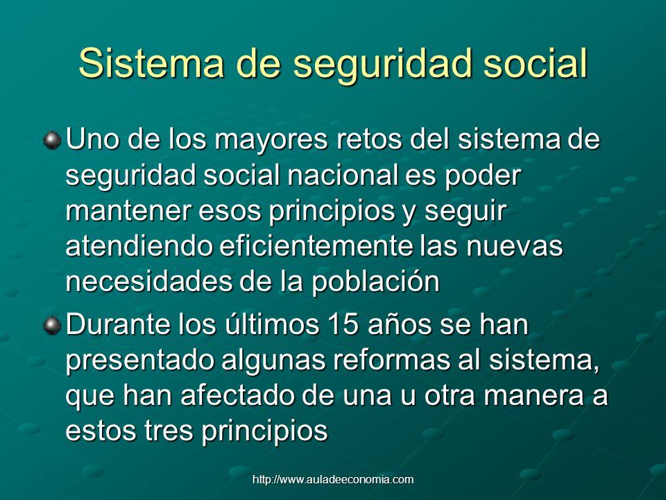 http://www.auladeeconomia.com Sistema de seguridad social Uno de los mayores retos del sistema de seguridad social nacional es poder mantener esos pri