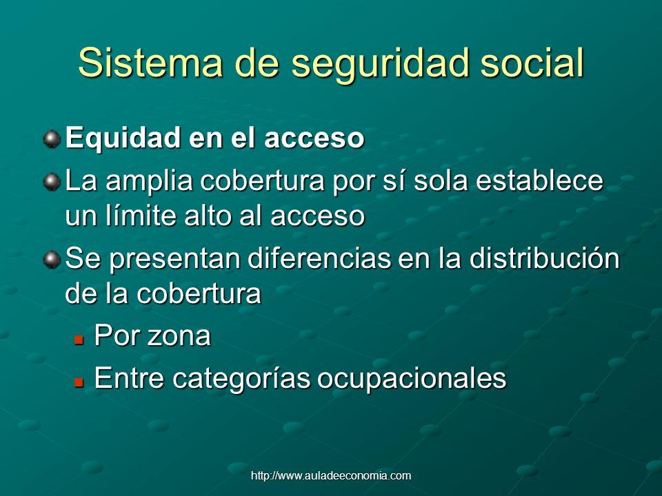 http://www.auladeeconomia.com Sistema de seguridad social Equidad en el acceso La amplia cobertura por sí sola establece un límite alto al acceso Se p