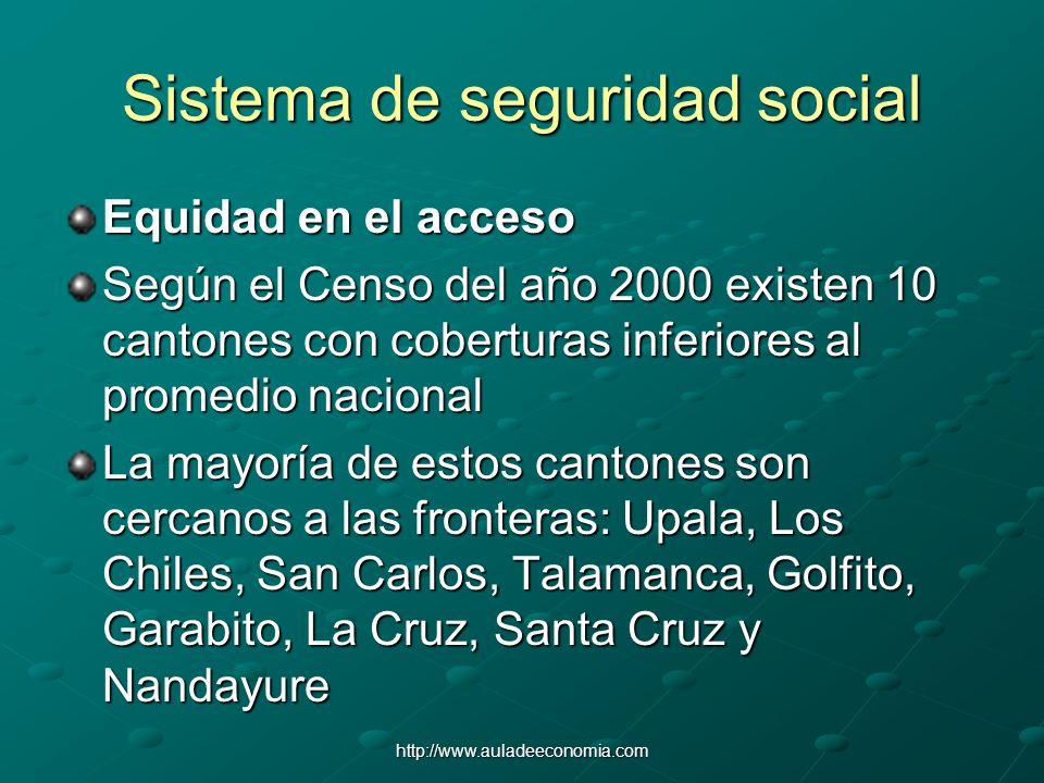 http://www.auladeeconomia.com Sistema de seguridad social Equidad en el acceso Según el Censo del año 2000 existen 10 cantones con coberturas inferior
