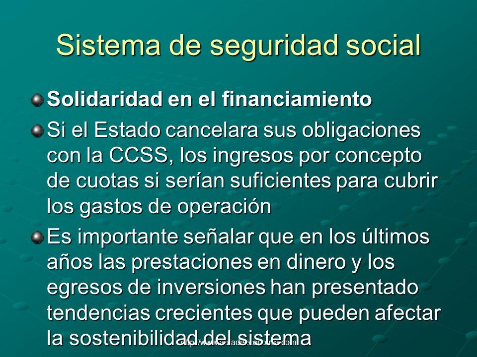 http://www.auladeeconomia.com Sistema de seguridad social Solidaridad en el financiamiento Si el Estado cancelara sus obligaciones con la CCSS, los in