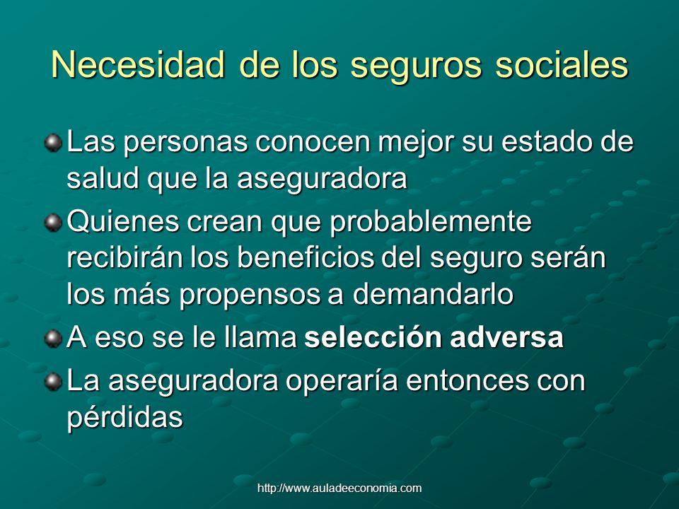 http://www.auladeeconomia.com Necesidad de los seguros sociales Las personas conocen mejor su estado de salud que la aseguradora Quienes crean que pro